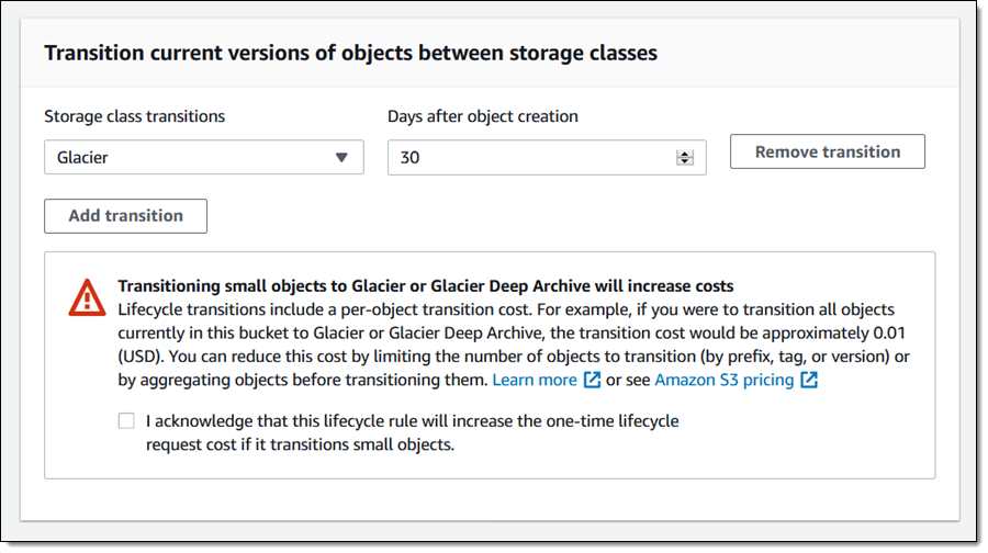 Setting up an S3 lifecycle rule to transition objects to Glacier 30 days after creation.