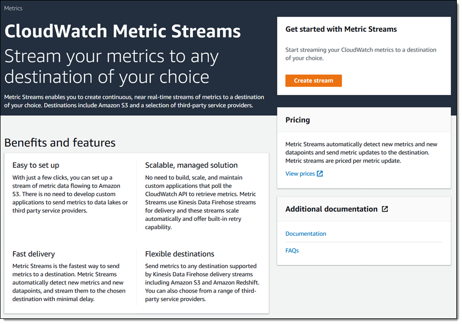 CloudWatch Metric Streams Home Page in Console