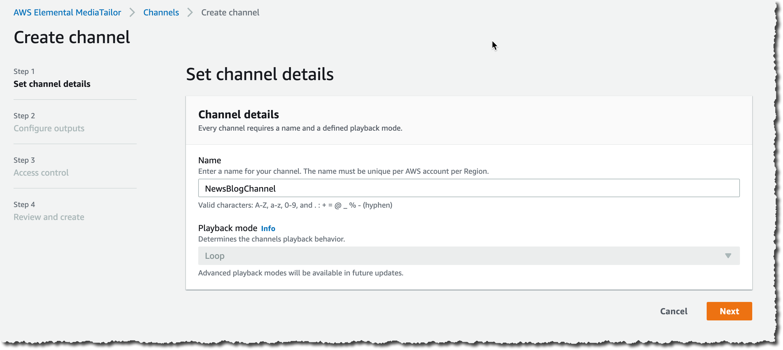 MediaTailor Channel Assembly create channel step 1