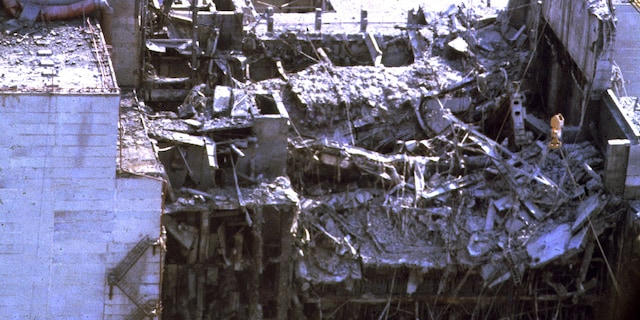 View of the Chernobyl Nuclear power plant three days after the explosion on April 29, 1986, in Chernobyl, Ukraine. (Photo by SHONE/GAMMA/Gamma-Rapho via Getty Images)