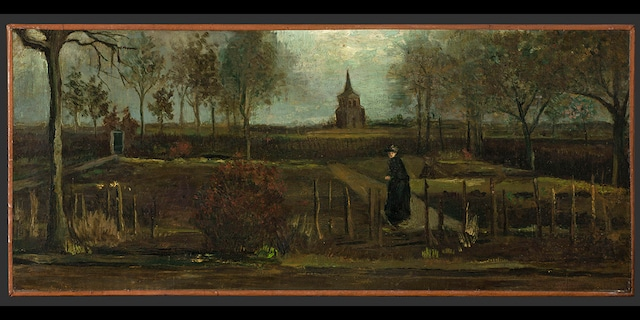 """This image provided by the Groninger Museum on Monday March 30, 2020, shows Dutch master Vincent van Gogh's painting titled """"The Parsonage Garden at Nuenen in Spring"""" which was stolen from the Singer Museum in Laren, Netherlands. (Groninger Museum via AP )"""