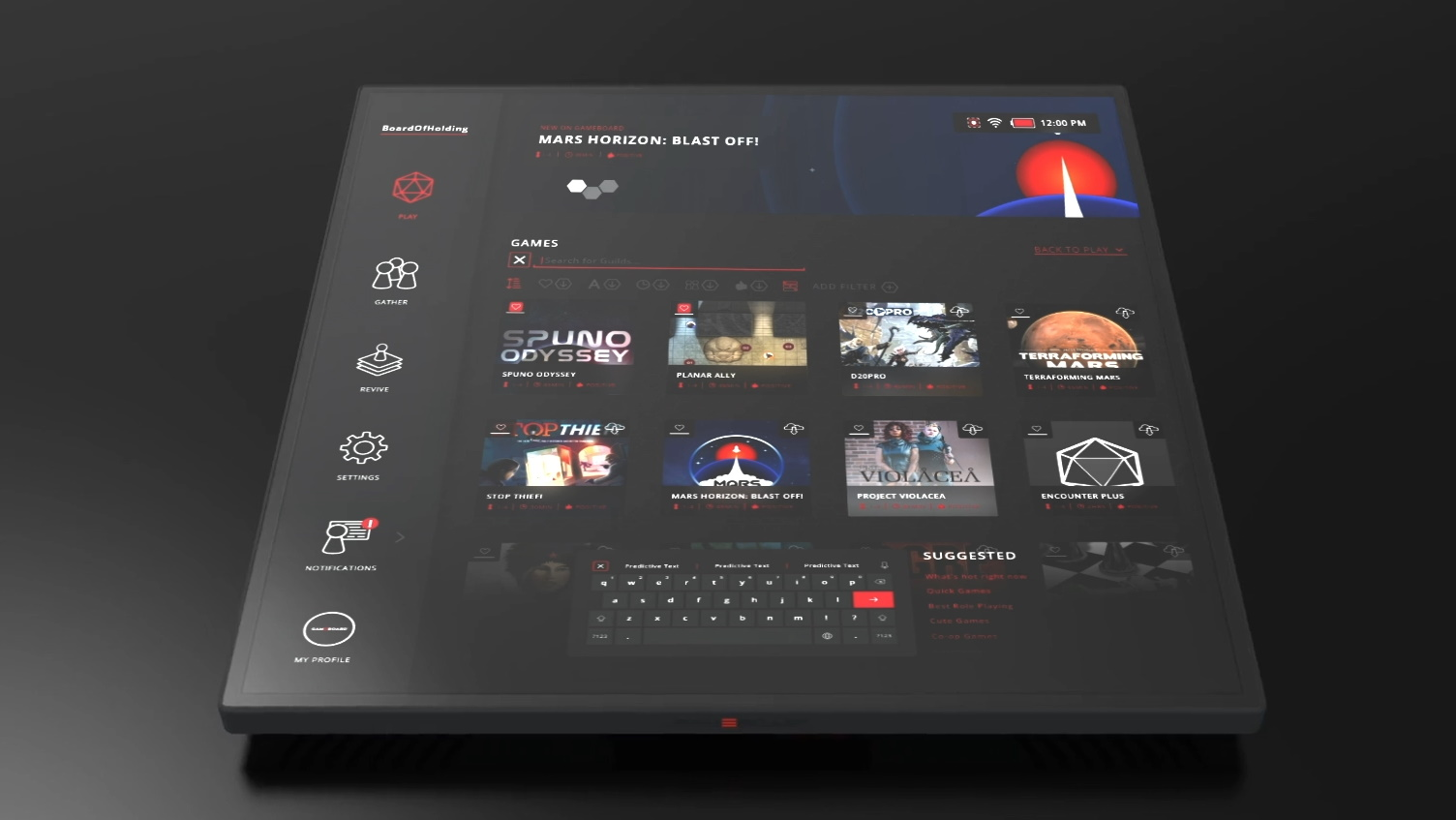 The Last Gameboard's interface, showing games available to play on the tablet's surface.