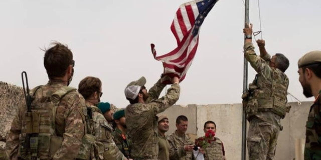 Handover ceremony at Camp Anthonic, from U.S. Army, to Afghan Defense Forces in Helmand province, Afghanistan, May 2, 2021.