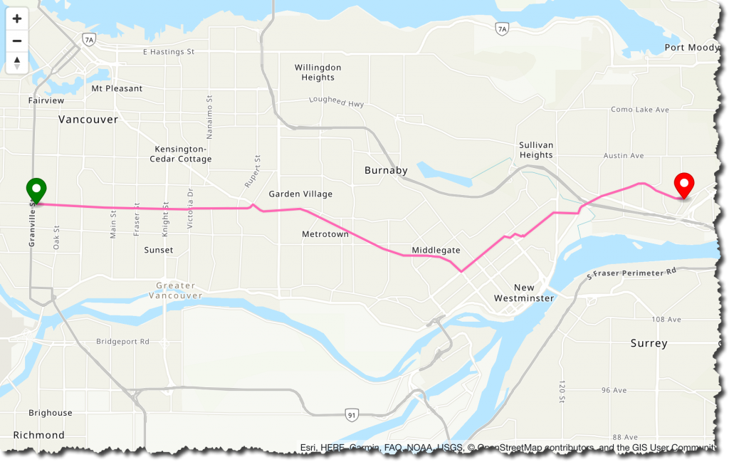 Map of route when walking