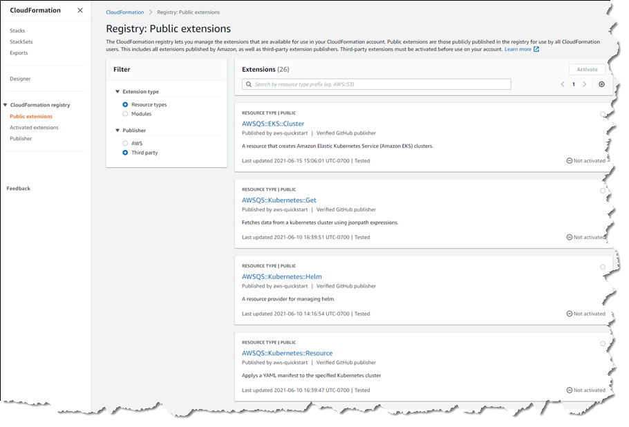 Viewing third-party types in the registry