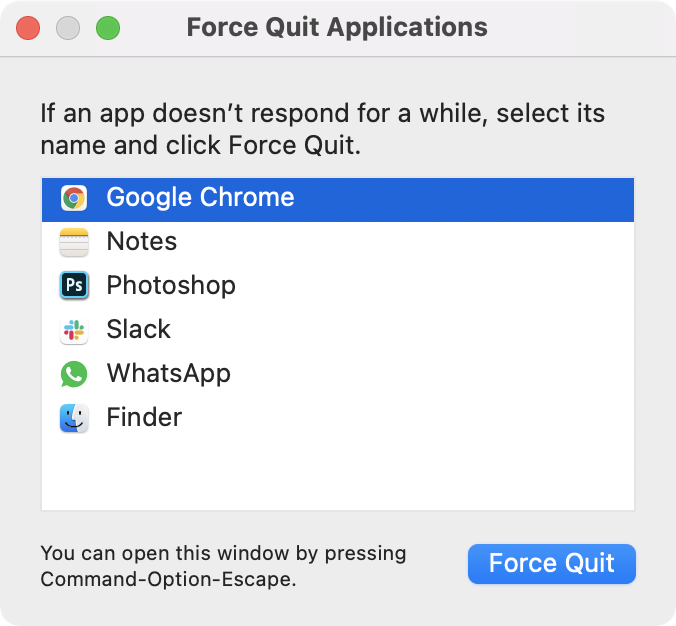 MacOS force quit