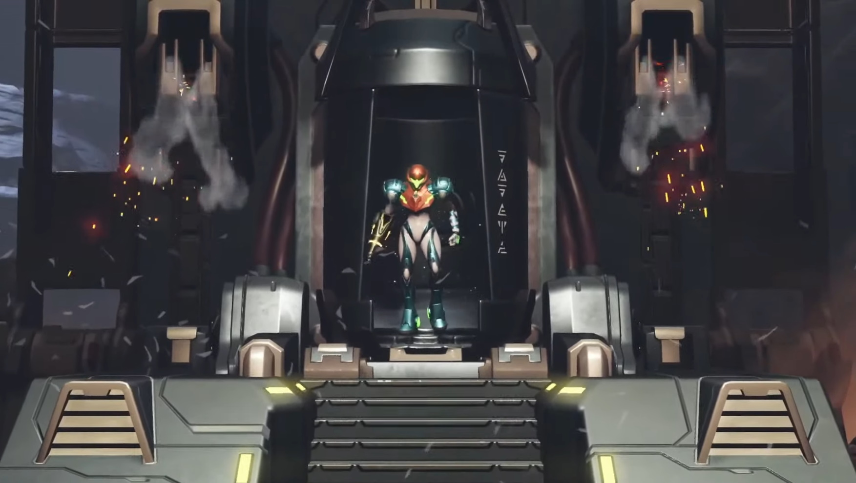 Samus steps out of a chamber in a screenshot from Metroid Dread.