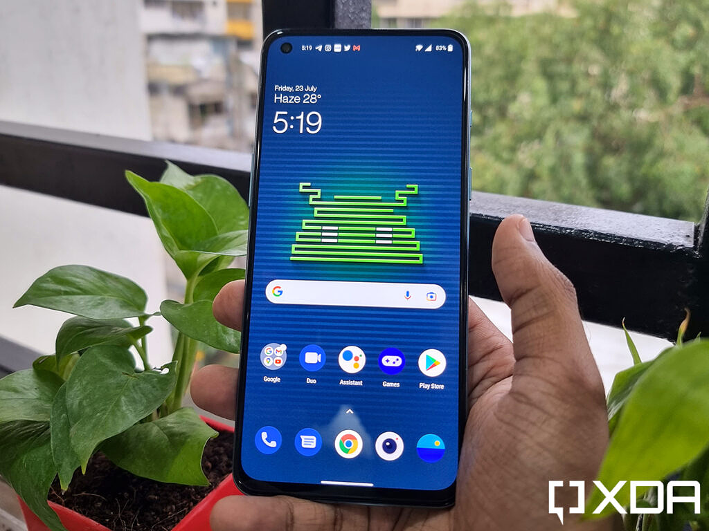 OnePlus Nord 2 display in focus, showing off homescreen, and two plants present behind the phone