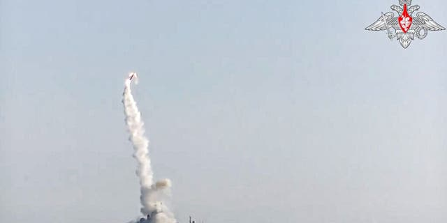 In this photo taken from video distributed by Russian Defense Ministry Press Service, a new Zircon hypersonic cruise missile is launched by the frigate Admiral Gorshkov of the Russian navy from the White Sea, in the north of Russia, Russia, Monday, July 19, 2021.