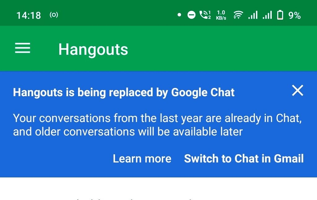 Switch to Google Chat prompt in Hangouts Android app