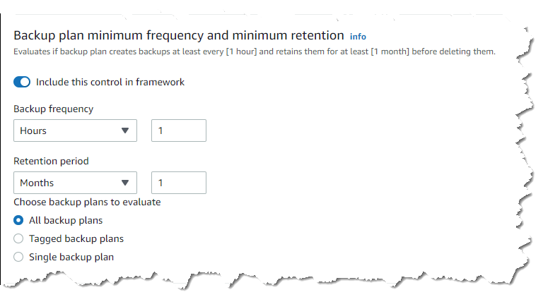 Setting backup frequency and retention period controls